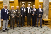 Veterans (from left): Ian Mackley, John Christophers, Alan Cull, Keith Hall, Des Vinten, Lindsay Glassey and Don Hay