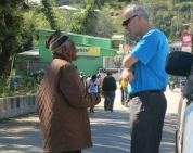 Pat chats with a local in the inland town of Maubisse.