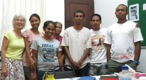 Pip's creative writing class. From left: Pip, Polan, Este, Fatima, Nunu, Justin, Alito.