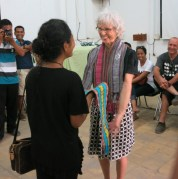 Pip is farewelled by students at Timor's national university where she coordinated a programme of free English classes.