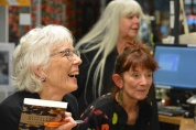 Pip signs books while Marion Castree and Jacqui Brokenshaw attend to the complete sell-out of books on the night.