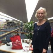 Pip's sister Liz, organiser of a local launch of 'Song for Rosaleen' at the Hastings library.
